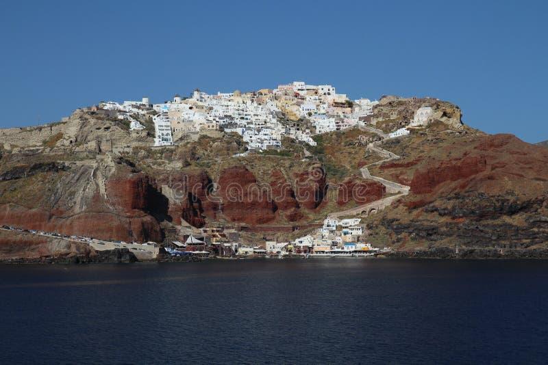 Πόλη Oia στο West End caldera Santorin, Ελλάδα στοκ εικόνες με δικαίωμα ελεύθερης χρήσης