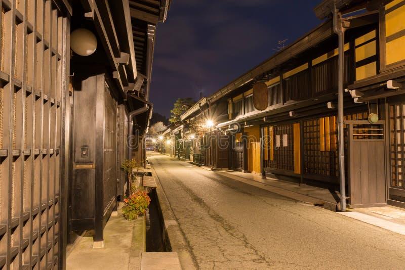 Πόλη Takayama στη νύχτα στο Γκιφού Ιαπωνία στοκ εικόνα