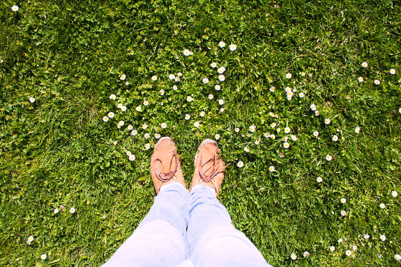 Πόδια και χλόη στοκ φωτογραφία με δικαίωμα ελεύθερης χρήσης