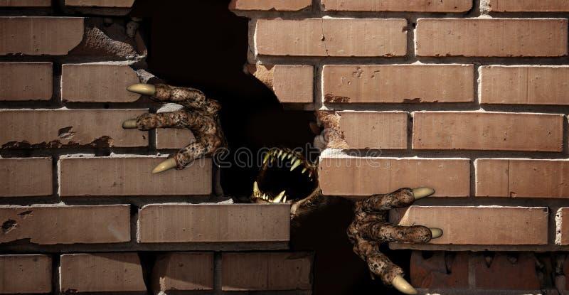 Πόδια του τέρατος, που σπάζουν έναν τουβλότοιχο ελεύθερη απεικόνιση δικαιώματος