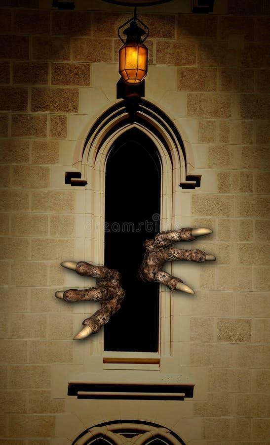 Πόδια του τέρατος στο παράθυρο κάστρων απεικόνιση αποθεμάτων