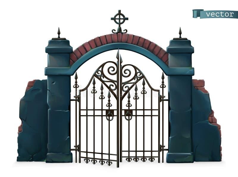Πύλες στο νεκροταφείο Χαρούμενες Απόκριες αντικείμενο σκίτσου 3d διανύσματος διανυσματική απεικόνιση