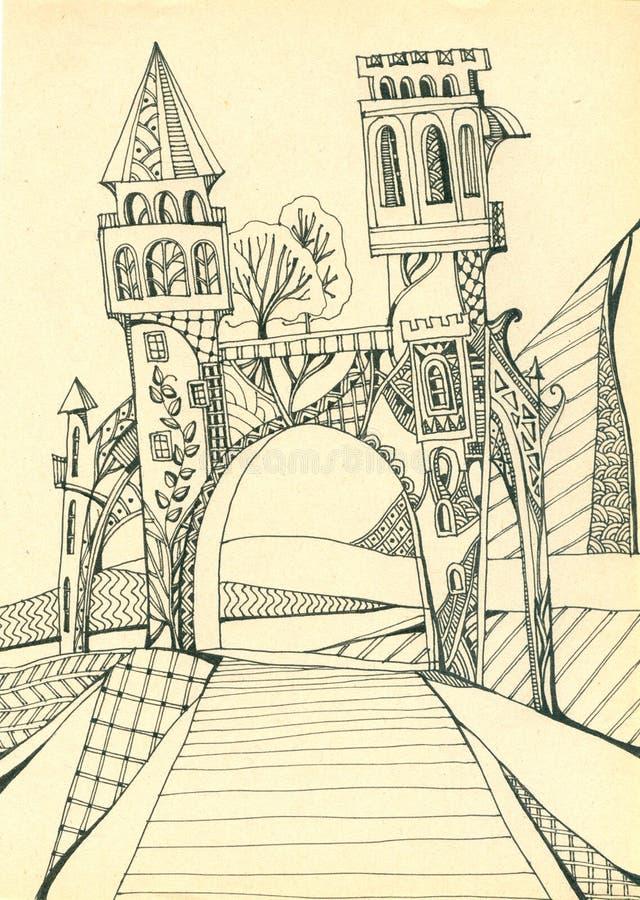 Πύλη με τους πύργους επάνω από το δρόμο Πύλη στο μαγικό κόσμο χέρι σχεδίων νεολαίες γυναικών εσώρουχων πρωινού της οι επάνω θερμέ διανυσματική απεικόνιση