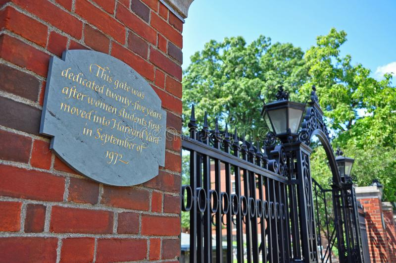 Πύλη Πανεπιστημίου του Χάρβαρντ, Βοστώνη, ΗΠΑ στοκ εικόνα
