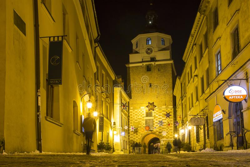 Πύλη της Κρακοβίας στην παλαιά πόλη του Lublin, Πολωνία στοκ εικόνες