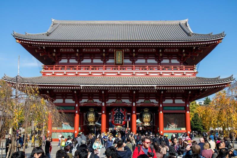Πύλη του ναού Asakusa Sensoji-sensoji-ji, Τόκιο, Ιαπωνία στοκ εικόνα