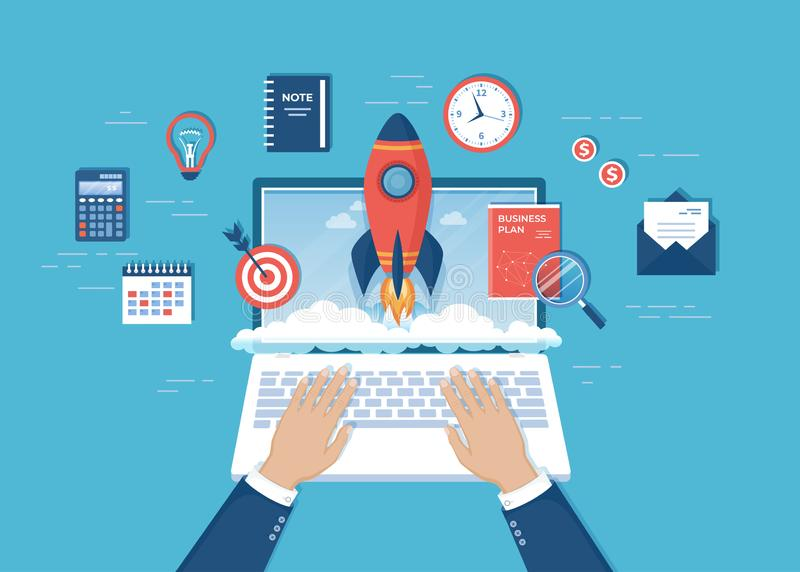 Πύραυλος έναρξης χεριών επιχειρηματιών από την οθόνη lap-top Ξεκίνημα επιχειρησιακού προγράμματος, οικονομικός σχεδιασμός, ιδέα,  ελεύθερη απεικόνιση δικαιώματος