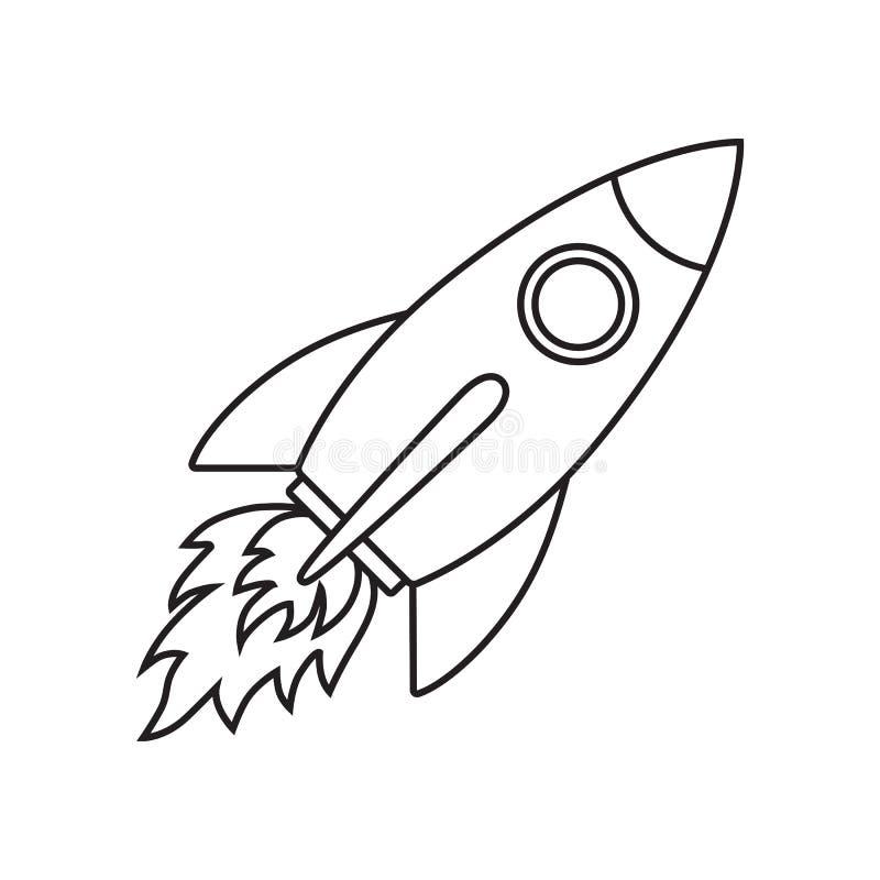 Πύραυλος εικονιδίων γραμμών διανυσματική απεικόνιση