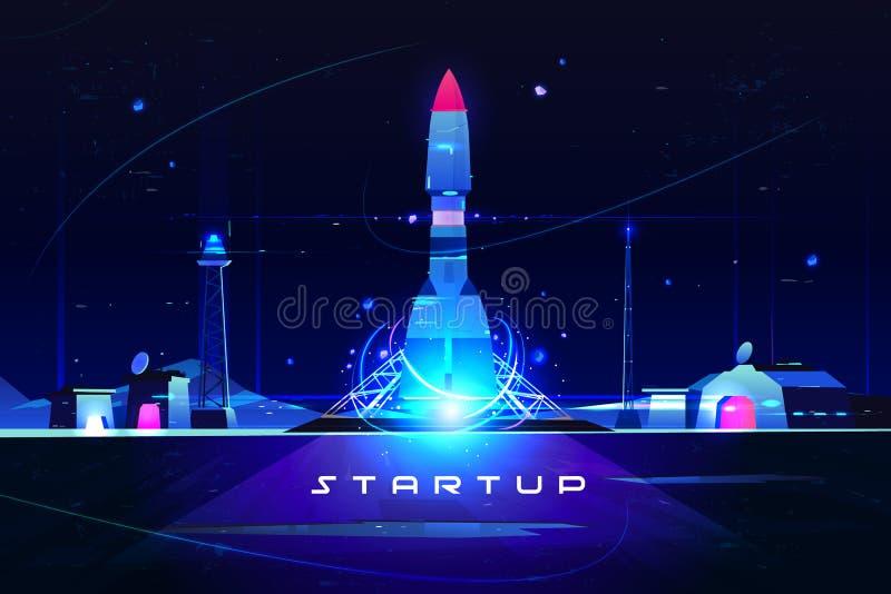 Πύραυλος ξεκινήματος, έναρξη της ιδέας επιχειρησιακού μάρκετινγκ διανυσματική απεικόνιση