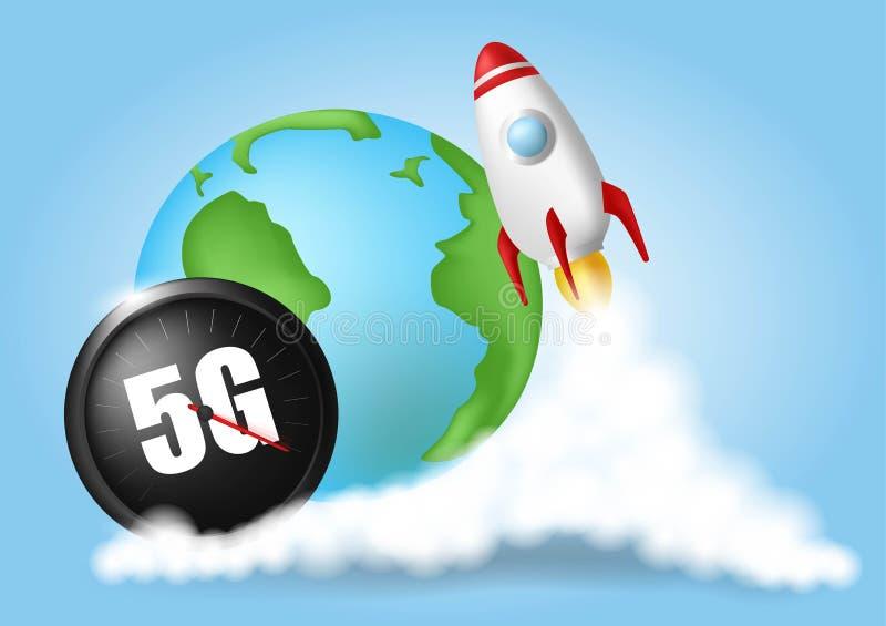 Πύραυλος ξεκινήματος Σύννεφα καπνού Έννοια ταχύτητας ασύρματων δικτύων, εξέλιξη ταχυμέτρων 5G Σφαιρικός στο μπλε υπόβαθρο Ρεαλιστ διανυσματική απεικόνιση