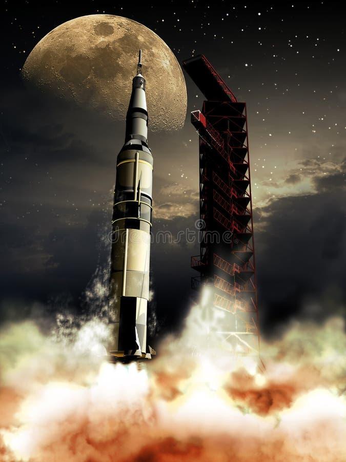 Πύραυλος στο φεγγάρι απεικόνιση αποθεμάτων