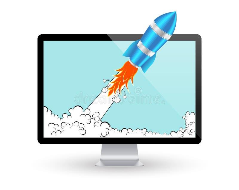 Πύραυλος και οθόνη υπολογιστή Ξεκίνημα κωμικό ή έννοια ανάπτυξης προγράμματος διάνυσμα εικονιδίων εργαλείων απεικόνιση αποθεμάτων