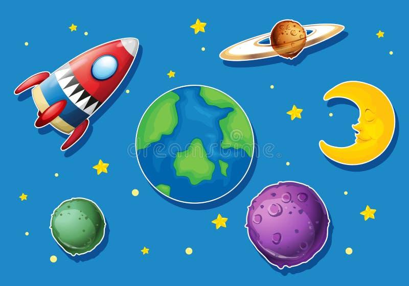 Πύραυλος και πολλοί πλανήτες στο διάστημα απεικόνιση αποθεμάτων