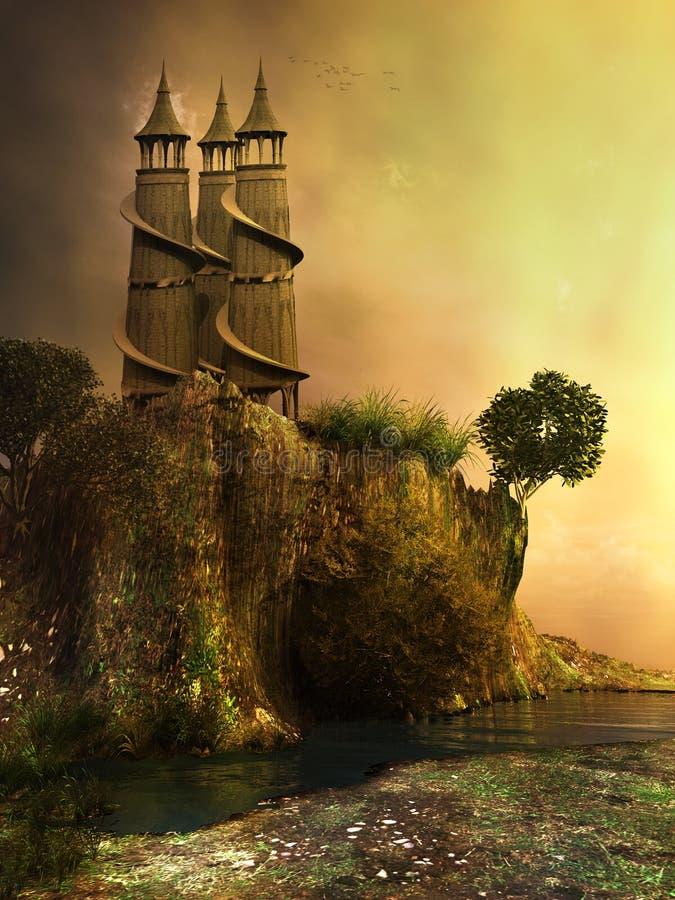 Πύργοι σε έναν απότομο βράχο διανυσματική απεικόνιση