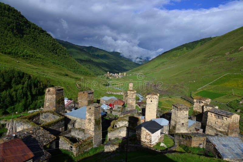 Πύργοι σε Ushguli, Γεωργία στοκ φωτογραφίες