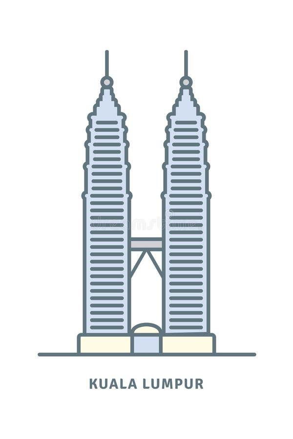 Πύργοι Petronas στη διανυσματική απεικόνιση της Κουάλα Λουμπούρ ελεύθερη απεικόνιση δικαιώματος