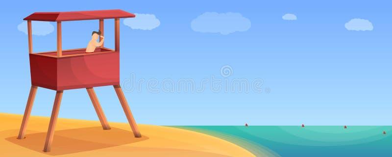 Πύργος διάσωσης στο έμβλημα έννοιας παραλιών άμμου, ύφος κινούμενων σχεδίων απεικόνιση αποθεμάτων