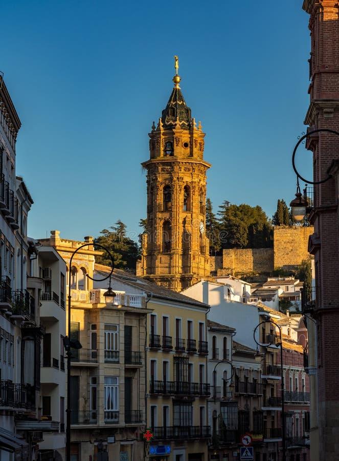 Πύργος εκκλησιών του San Sebastian Antequera, Μάλαγα επαρχία, Ανδαλουσία, Ισπανία στοκ φωτογραφία