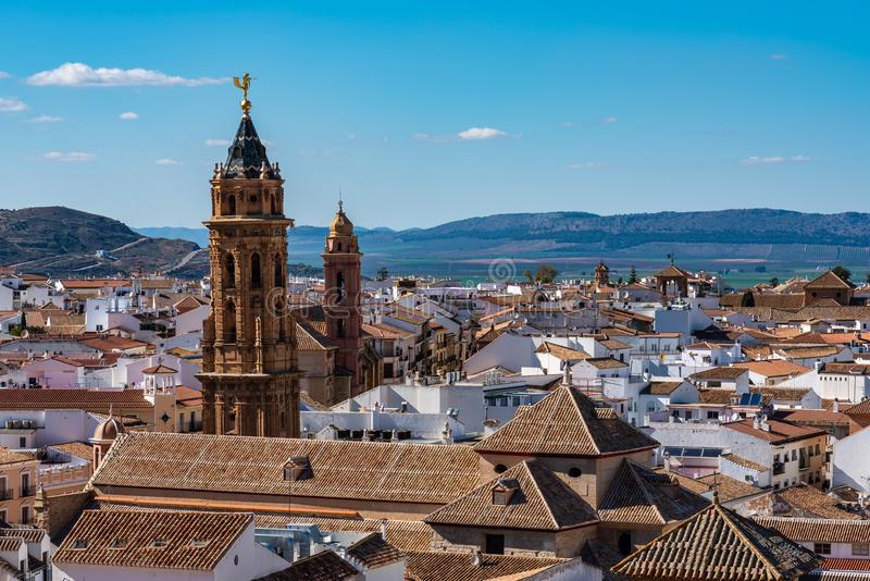 Πύργος εκκλησιών του San Sebastian Antequera, Μάλαγα επαρχία, Ανδαλουσία, Ισπανία στοκ φωτογραφίες με δικαίωμα ελεύθερης χρήσης