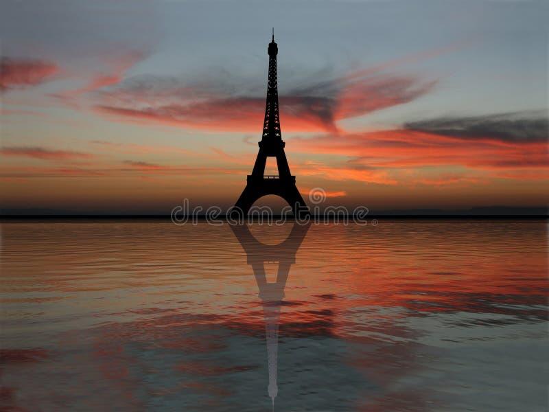 πύργος ηλιοβασιλέματος του Άιφελ διανυσματική απεικόνιση