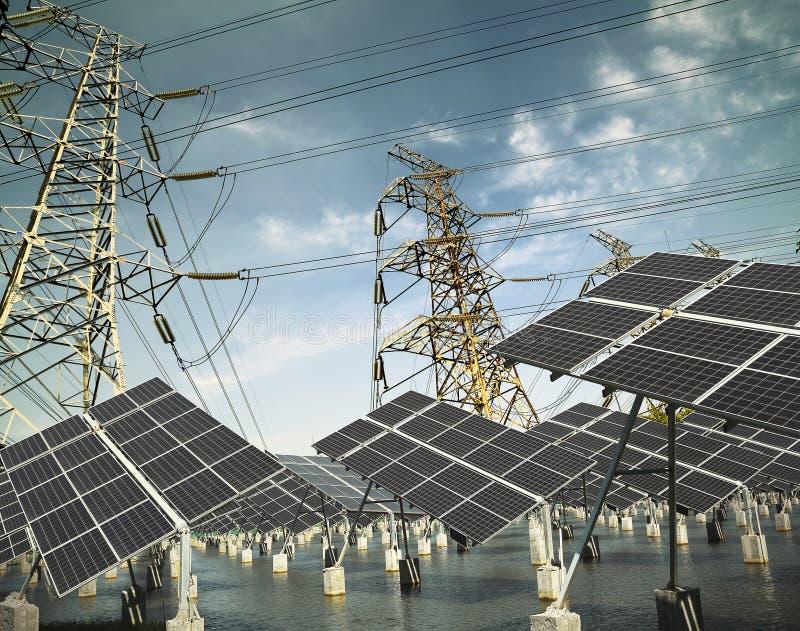 Πύργος και ηλιακό πλαίσιο μετάδοσης ισχύος στο πράσινο στοκ φωτογραφία