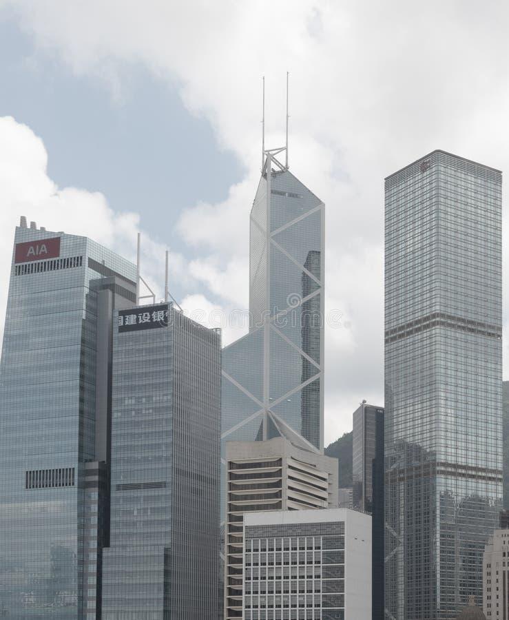 Πύργος και ουρανοξύστες Τράπεζας της Κίνας στο Χονγκ Κονγκ στοκ φωτογραφία με δικαίωμα ελεύθερης χρήσης