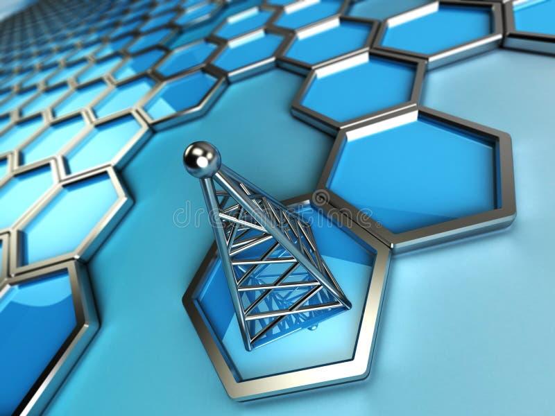 Πύργος και hexagons επικοινωνιών διανυσματική απεικόνιση