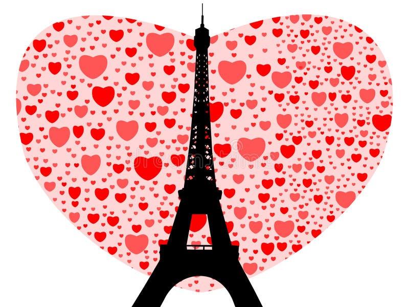 πύργος καρδιών του Άιφελ διανυσματική απεικόνιση