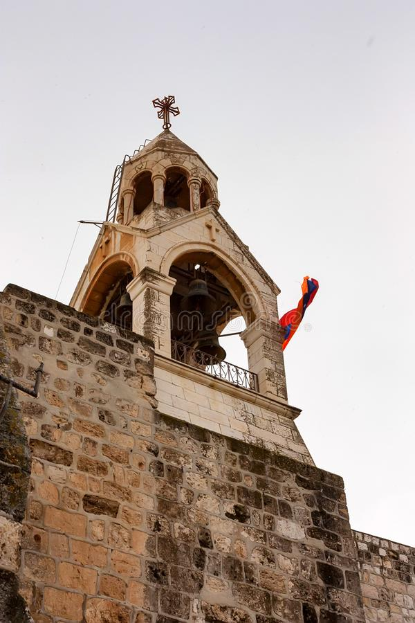Πύργος κουδουνιών της εκκλησίας του Nativity στο Ισραήλ στοκ φωτογραφία με δικαίωμα ελεύθερης χρήσης