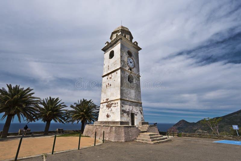 Πύργος κουδουνιών στο χωριό Canari της χερσονήσου ΚΑΠ Κορσική στοκ εικόνες