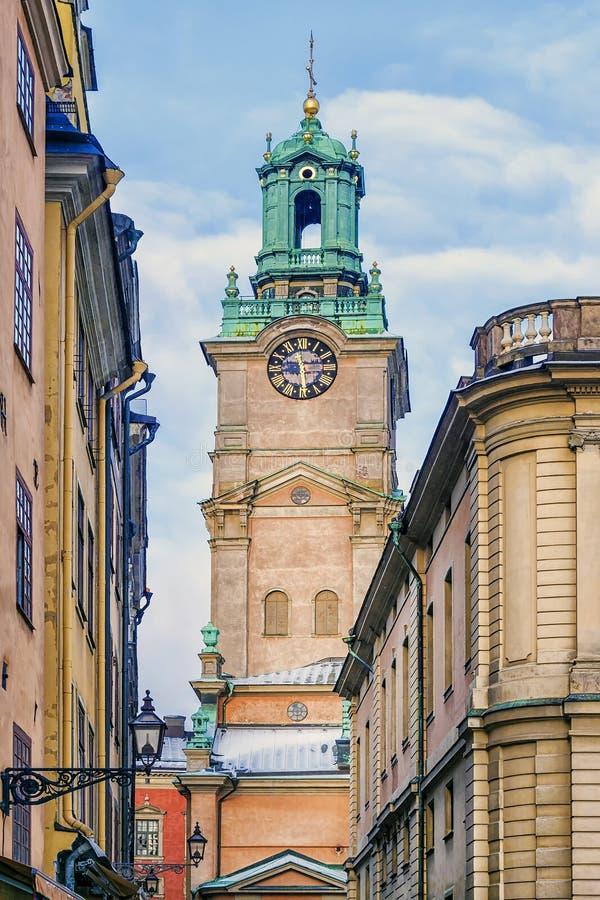 Πύργος κουδουνιών της εκκλησίας του Άγιου Βασίλη στη Στοκχόλμη, Σουηδία στοκ εικόνες με δικαίωμα ελεύθερης χρήσης