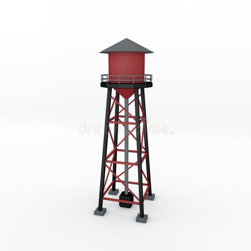 Πύργος νερού η ανασκόπηση απομόνωσε το λευκό τρισδιάστατη απόδοση illustrat απεικόνιση αποθεμάτων