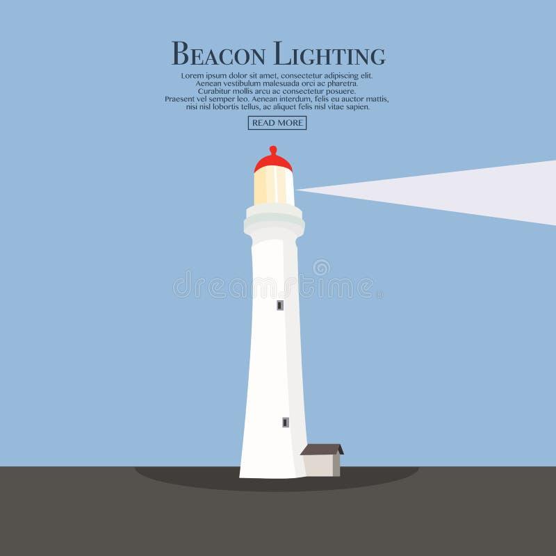 Πύργος προβολέων για τη θαλάσσια πλοήγησης καθοδήγηση απεικόνιση αποθεμάτων