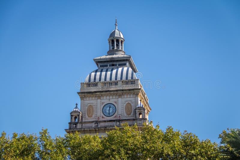 Πύργος ρολογιών κοντά στο τετράγωνο SAN Martin - Ροσάριο, Σάντα Φε, Αργεντινή στοκ φωτογραφία