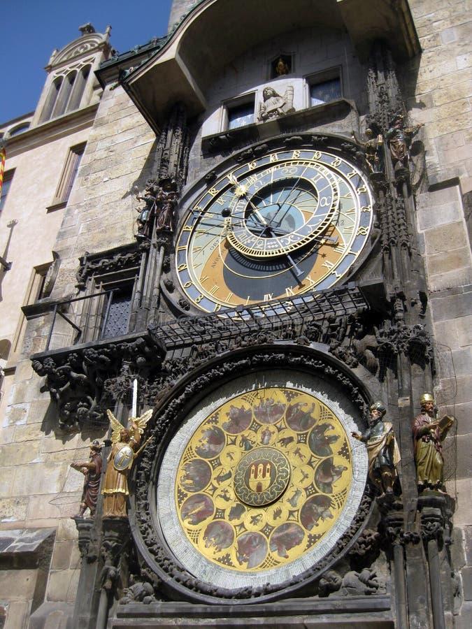 Πύργος ρολογιών στην Πράγα σε ένα τετράγωνο πόλεων στοκ εικόνα με δικαίωμα ελεύθερης χρήσης