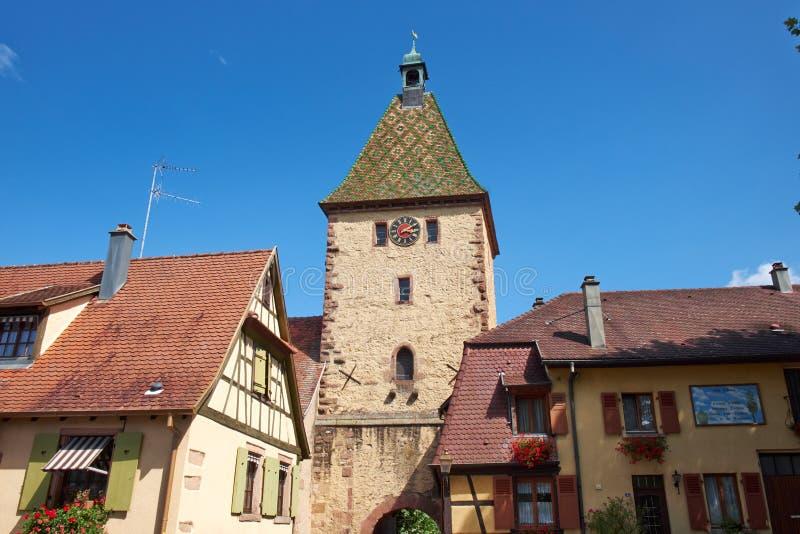 Πύργος ρολογιών της Γαλλίας Bergheim στοκ φωτογραφία με δικαίωμα ελεύθερης χρήσης