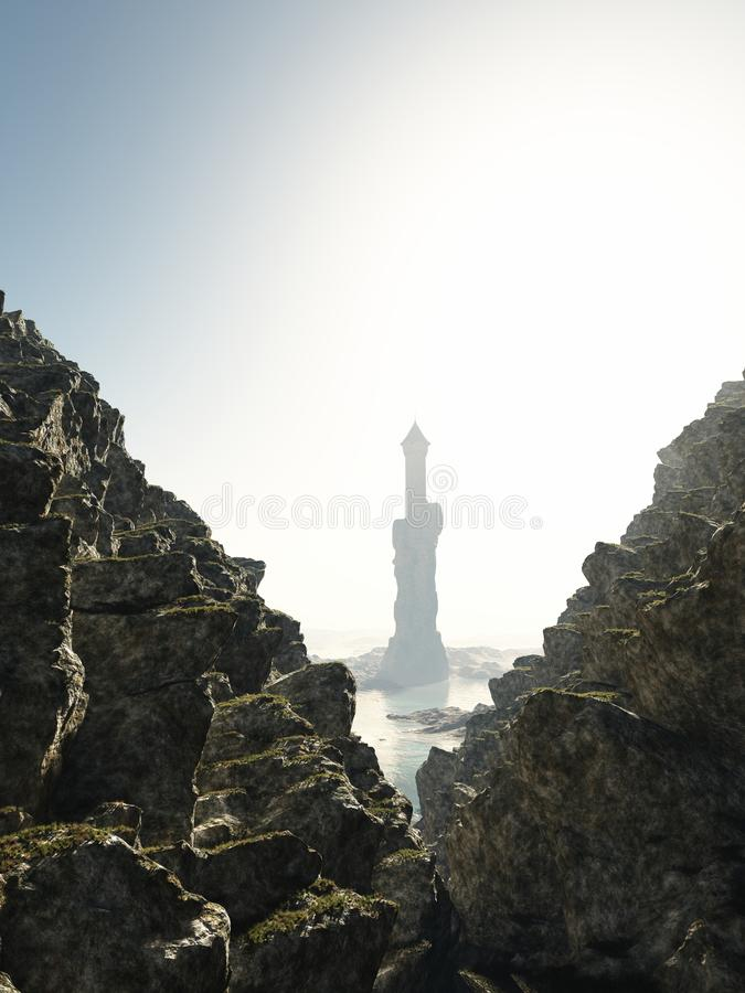 Πύργος στην υδρονέφωση ελεύθερη απεικόνιση δικαιώματος