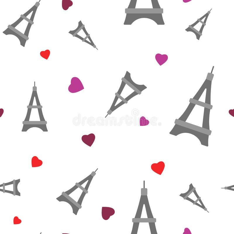 Πύργος στο επίπεδο ύφος Καρδιές και γύρος Άιφελ διανυσματική απεικόνιση