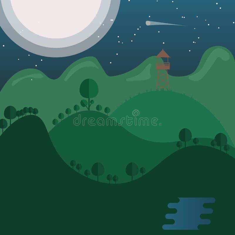 Πύργος στο τοπίο φύσης με το ελαφρύ φεγγάρι πίσω από το βουνό, meteo διανυσματική απεικόνιση