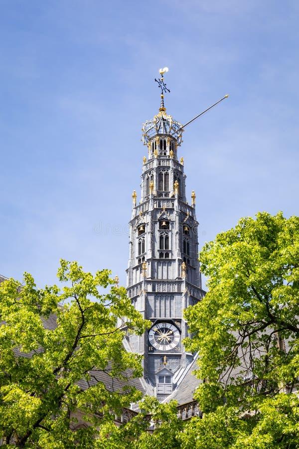 Πύργος της εκκλησίας Αγίου Bavo στο Χάρλεμ στις Κάτω Χώρες στοκ εικόνες