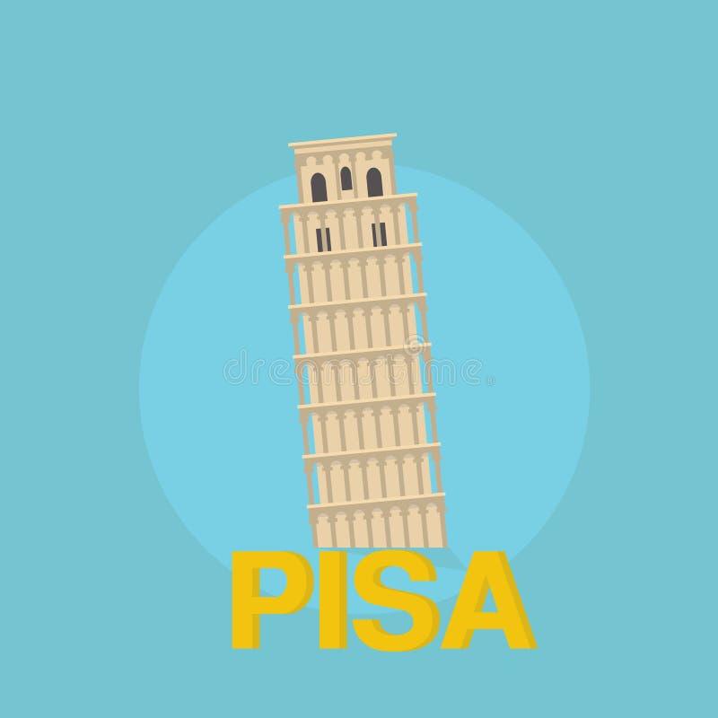 Πύργος της Πίζας ιστορικός Επίπεδη έννοια ταξιδιού σχεδίου διανυσματική απεικόνιση