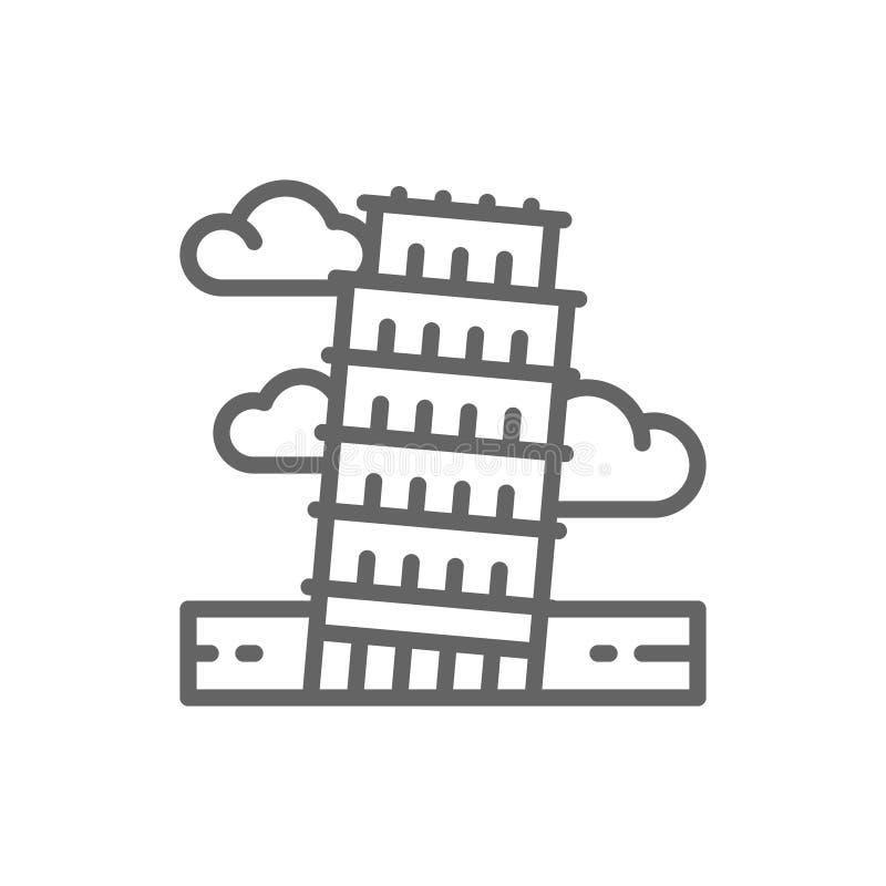 Πύργος της Πίζας, Ιταλία, εικονίδιο γραμμών ορόσημων διανυσματική απεικόνιση