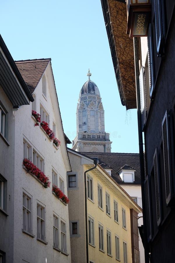 Πύργος της Προτεσταντικής Εκκλησίας Grossmunster στη Ζυρίχη στοκ φωτογραφία