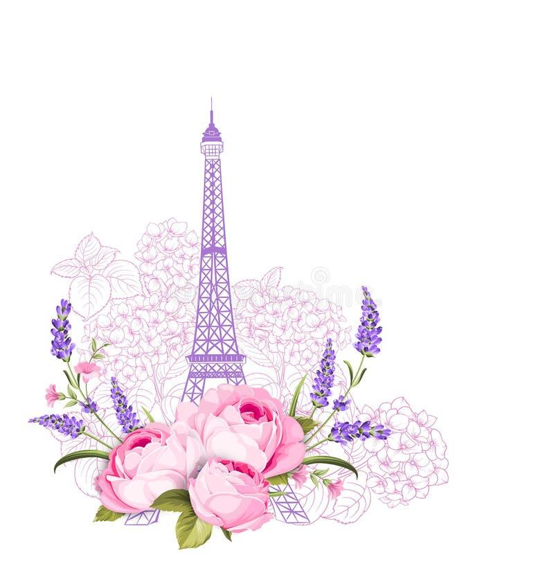 Πύργος του Άιφελ με τα ροδαλά λουλούδια που απομονώνονται πέρα από το άσπρο υπόβαθρο Η κομψή κάρτα διακοπών Σύμβολο πύργων του Άι απεικόνιση αποθεμάτων