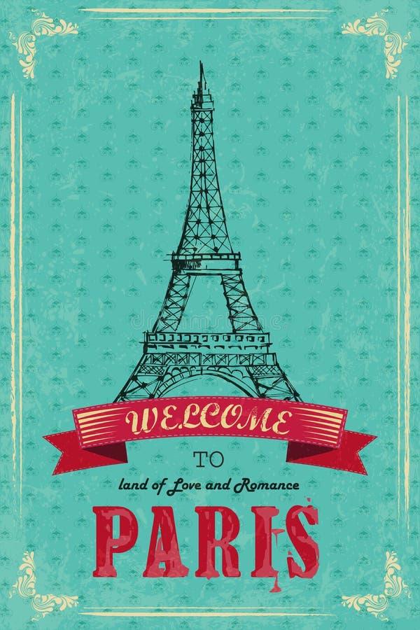 Πύργος του Άιφελ για την αναδρομική αφίσα ταξιδιού ελεύθερη απεικόνιση δικαιώματος