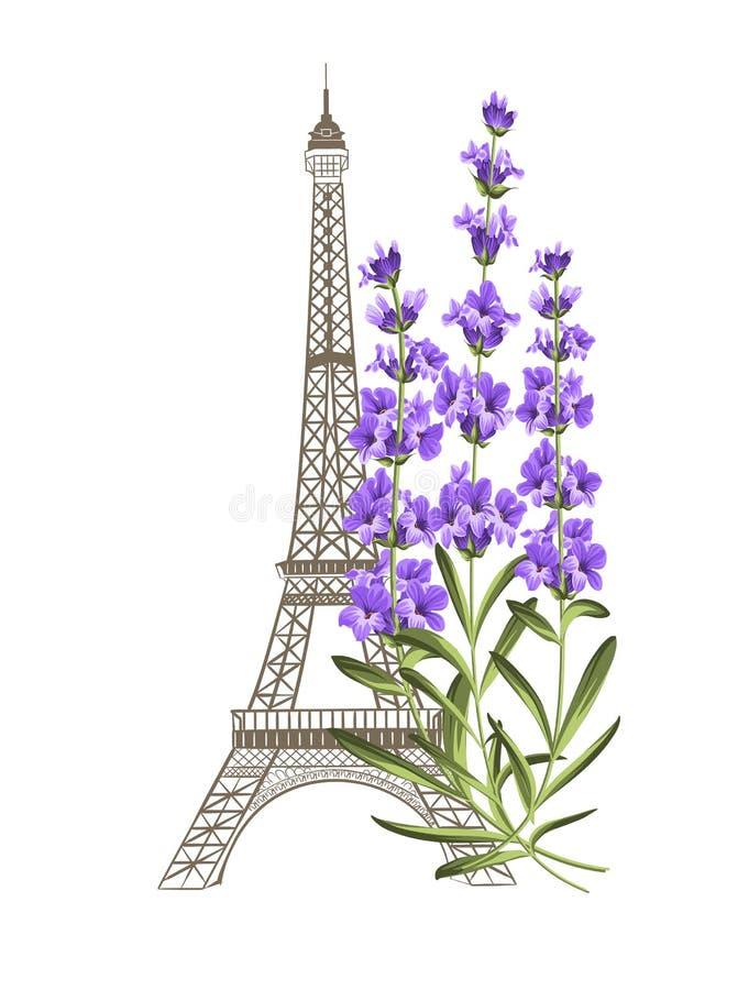 Πύργος του Άιφελ με lavender ελεύθερη απεικόνιση δικαιώματος