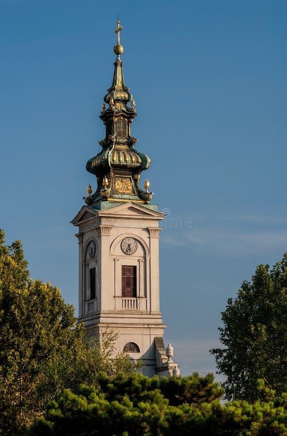 Πύργος του ορθόδοξου καθεδρικού ναού (crkva Saborna) σε Βελιγράδι, Σερβία στοκ εικόνα με δικαίωμα ελεύθερης χρήσης