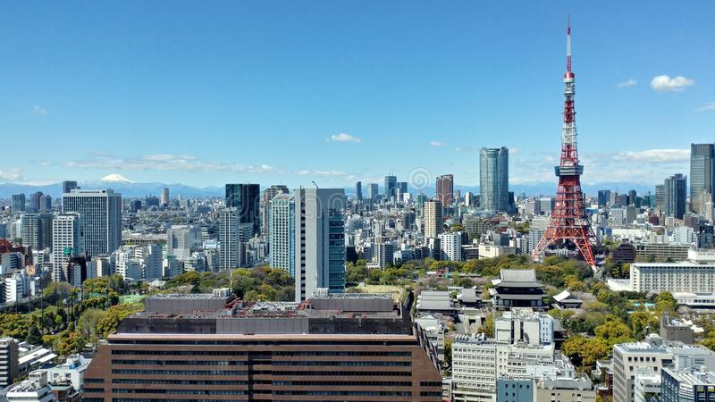 Πύργος του Τόκιο κάτω από το μπλε ουρανό στοκ φωτογραφία με δικαίωμα ελεύθερης χρήσης