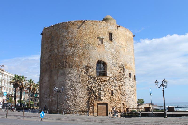 Πύργος Alghero Ιταλία Σαρδηνία Sulis στοκ φωτογραφία με δικαίωμα ελεύθερης χρήσης