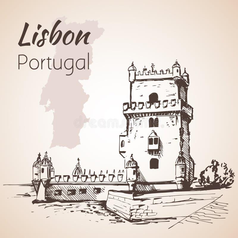 Πύργος Belém ή ο πύργος St Vincent Λισσαβώνα Πορτογαλία ελεύθερη απεικόνιση δικαιώματος